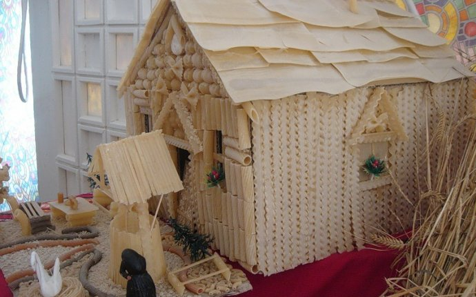 Поделки домик из макарон своими руками фото